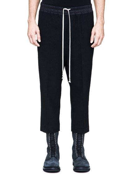 RICK OWENS DRAWSTRING ASTAIRES CROPPED TROUSERS IN BLACK