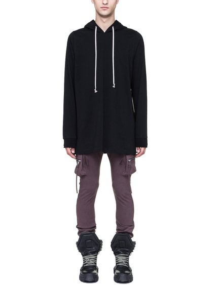 RICK OWENS HOODIE IN BLACK HEAVYWEIGHT COTTON JERSEY