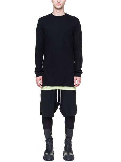 RICK OWENS LONG-SLEEVE FUNNEL NECK SWEATER IN BLACK BOILED CASHMERE