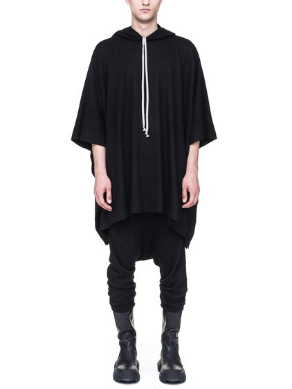 RICK OWENS HOODED COAT IN BLACK BOILED CASHMERE