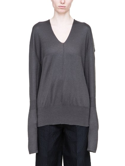 RICK OWENS V-NECK HOODIE IN GREY BOILED CASHMERE