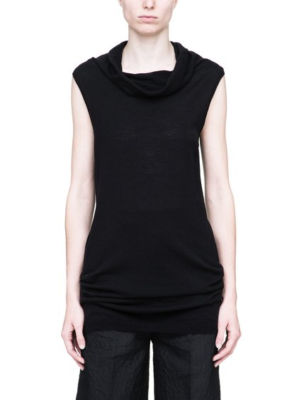 RICK OWENS SLEEVELESS DROPPED NECK SWEATER IN BLACK WOOL