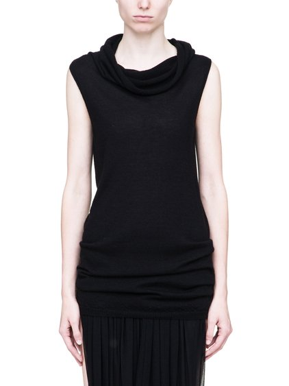 RICK OWENS SLEEVELESS DROPPED NECK SWEATER IN BLACK CASHMERE
