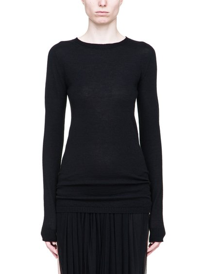 RICK OWENS CREWNECK SWEATER IN BLACK CASHMERE