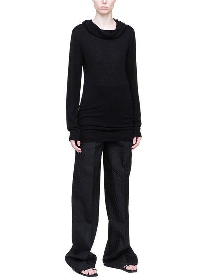 RICK OWENS DROPPED NECK SWEATER IN BLACK CASHMERE