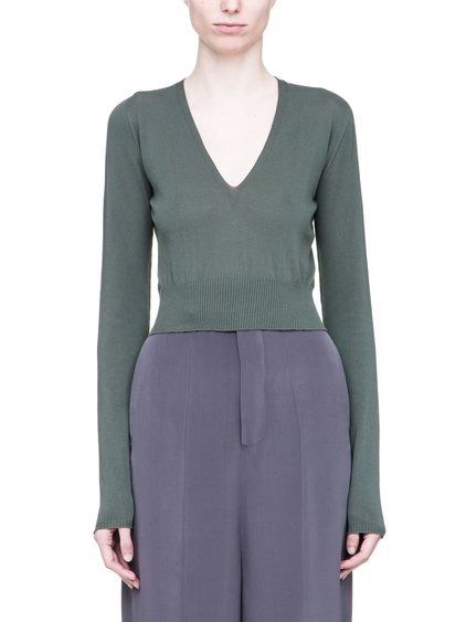 RICK OWENS GLITTER DEEP V-NECK SWEATER IN SAGE GREEN