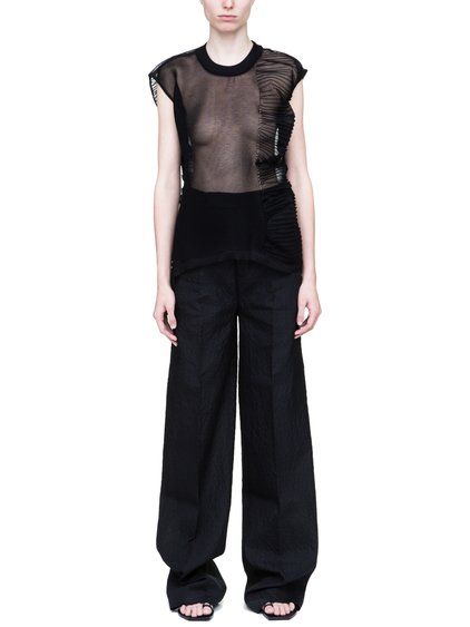 RICK OWENS ABSTRACT OVERSIZED CROPPED SWEATER IN BLACK IS SEE-THROUGH