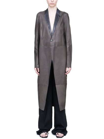 RICK OWENS SOFT KNIFE COAT IN DARKDUST GREY BABY CALF LEATHER