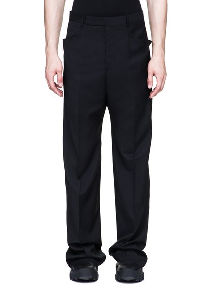 RICK OWENS MASTODON TROUSERS IN BLACK PAPER WOOL