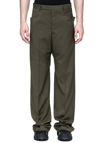 RICK OWENS MASTODON TROUSERS IN DIRTY GREEN PAPER WOOL