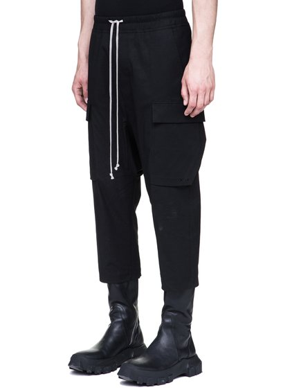 RICK OWENS DRAWSTRING CROPPED CARGOS IN BLACK