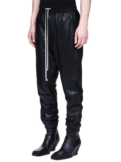 RICK OWENS TRACK PANTS IN BLACK BLISTER GLOSSY LAMB LEATHER