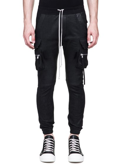 RICK OWENS CARGO JOG PANTS IN BLACK BLISTER STRETCH LAMB