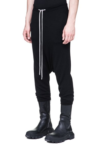 RICK OWENS DRAWSTRING SHORT KNITTED PANTS IN BLACK NEW WOOL