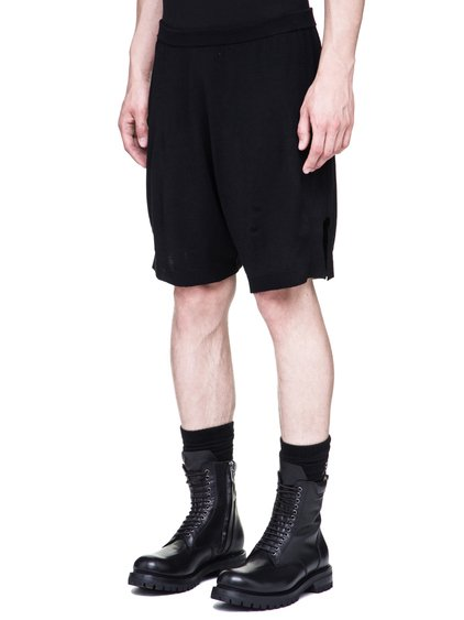 RICK OWENS BOXER KNITTED SHORTS IN BLACK NEW WOOL