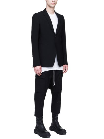 RICK OWENS SOFT BLAZER IN BLACK WOOL