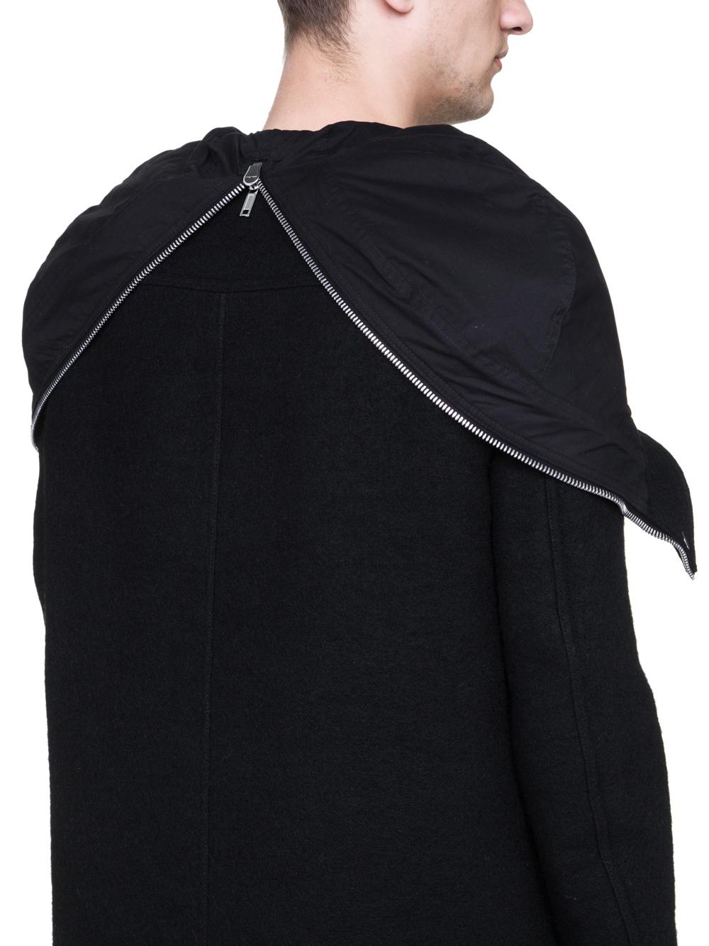 RICK OWENS MEGAPARKA IN BLACK BOILED WOOL