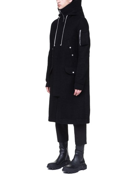 RICK OWENS MEGAPARKA IN BLACK BOILED WOOL