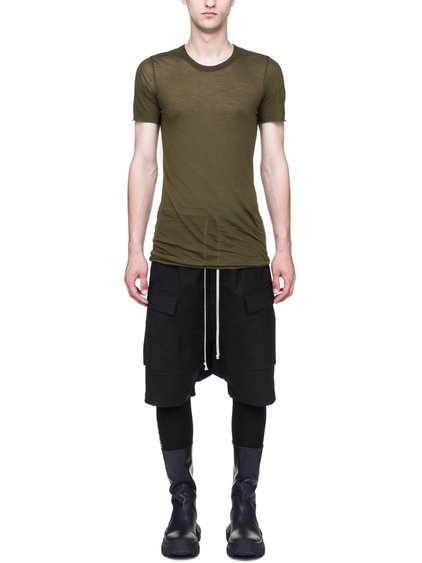 RICK OWENS BASIC SHORT-SLEEVE TEE IN DIRTY GREEN UNSTABLE COTTON