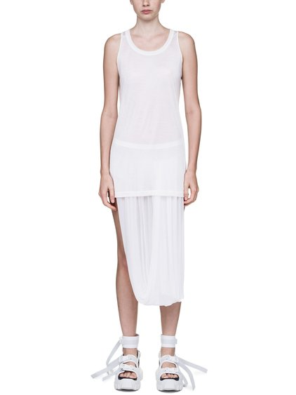 RICK OWENS OFF-THE-RUNWAY DIRT TANK TOP IN CHALK WHITE  1