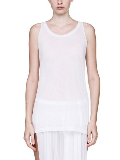 RICK OWENS DIRT TANK TOP IN WHITE  COTTON JERSEY IS SLIGHTLY SEE-THROUGH