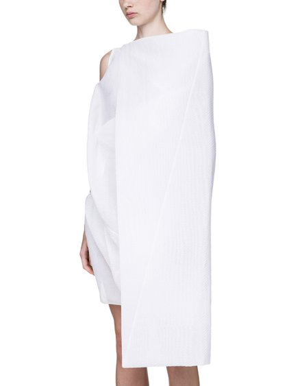RICK OWENS SS18 DIRT TRIAL TUNIC IN CHALK WHITE