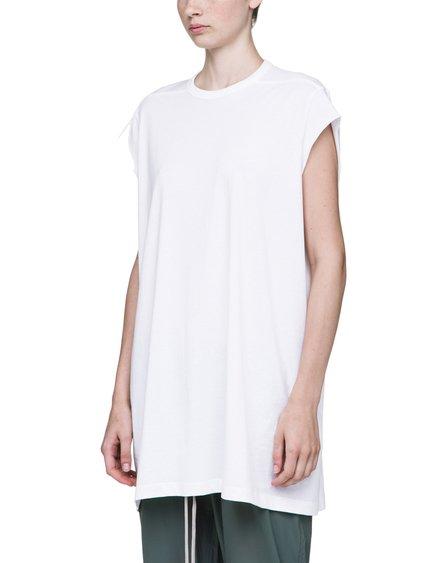 RICK OWENS T-SHIRT IN MILK WHITE MEDIUMWEIGHT COTTON
