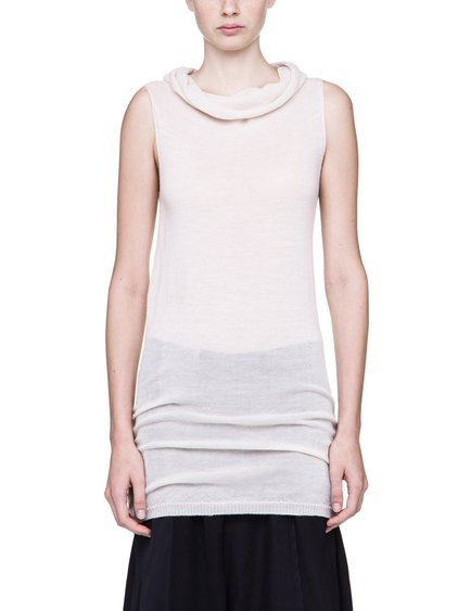 RICK OWENS SLEEVELESS DROPPED NECK SWEATER IN NATURAL WOOL