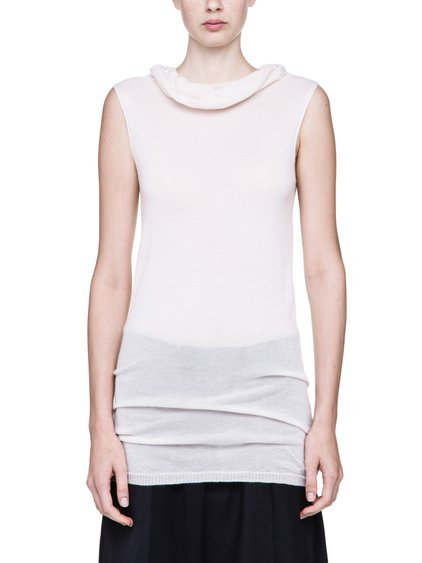 RICK OWENS SLEEVELESS DROPPED NECK SWEATER IN NATURAL CASHMERE