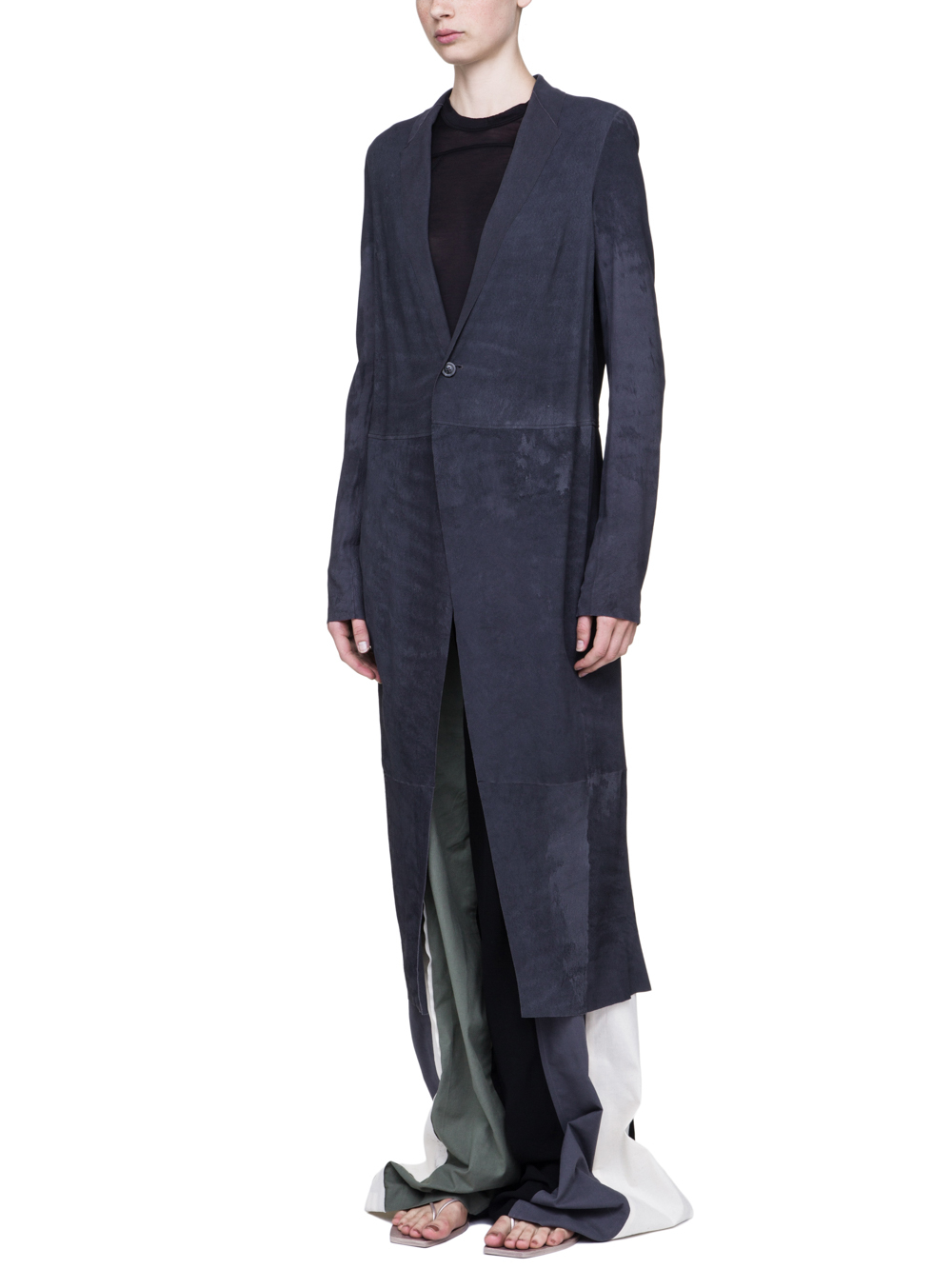 RICK OWENS SOFT KNIFE COAT IN IRON DARK PURPLE BLISTER LAMB LEATHER
