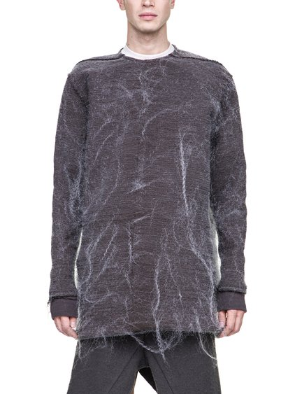 RICK OWENS FW18 SISYPHUS OFF-THE-RUNWAY BANANA TEE IN DARKDUST GREY LONGSLEEVE AND RIBBED CUFFS