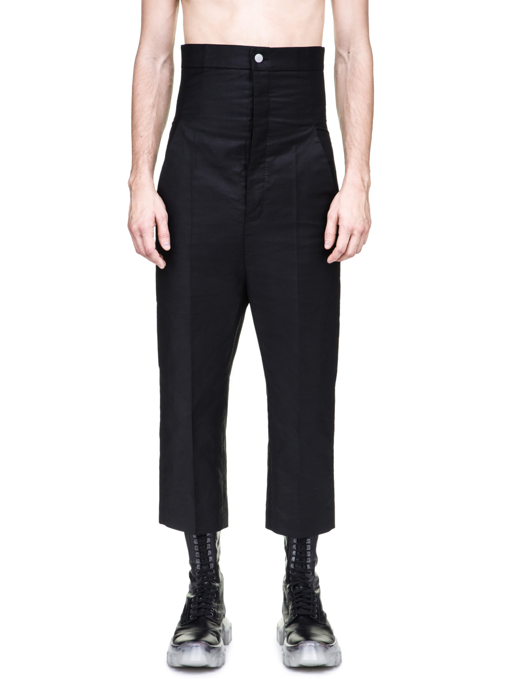 RICK OWENS OFF-THE-RUNWAY DIRT JEANS IN BLACK ARE EXTREMELY HIGH-WAISTED