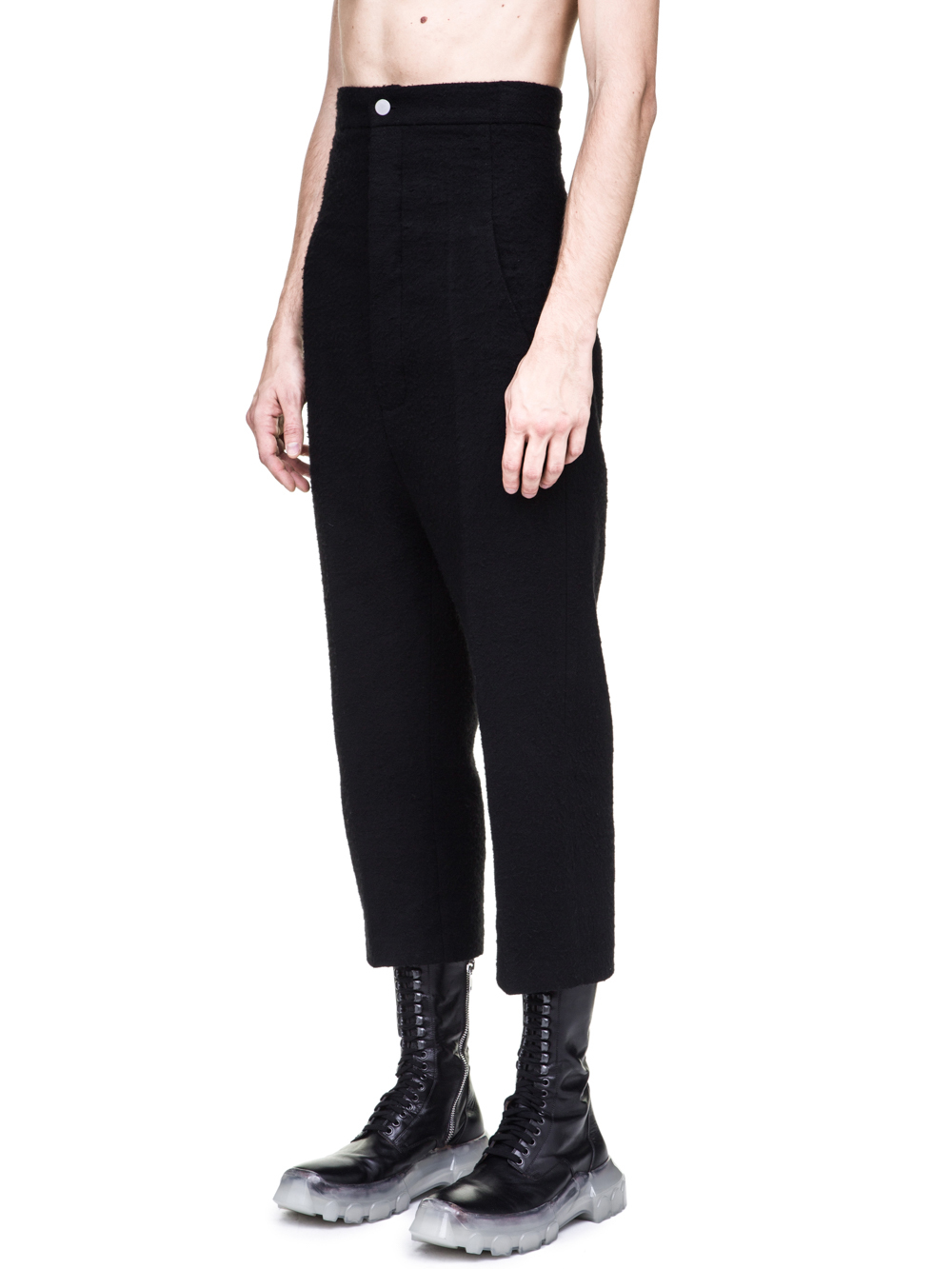 RICK OWENS OFF-THE-RUNWAY DIRT JEANS IN BLACK CAMEL WOOL ARE EXTREMELY HIGH-WAISTED
