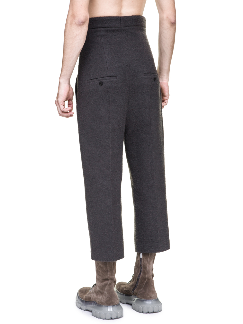 RICK OWENS OFF-THE-RUNWAY DIRT JEANS IN DUST GREY CAMEL WOOL ARE EXTREMELY HIGH-WAISTED