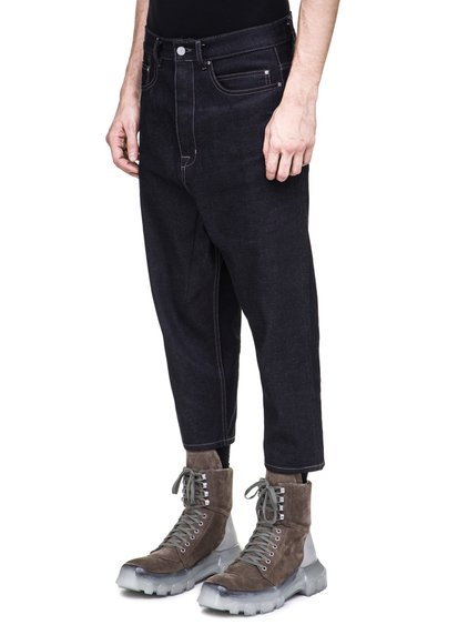 RICK OWENS OFF-THE-RUNWAY COLLAPSE JEANS IN 18OZ INDIGO DENIM