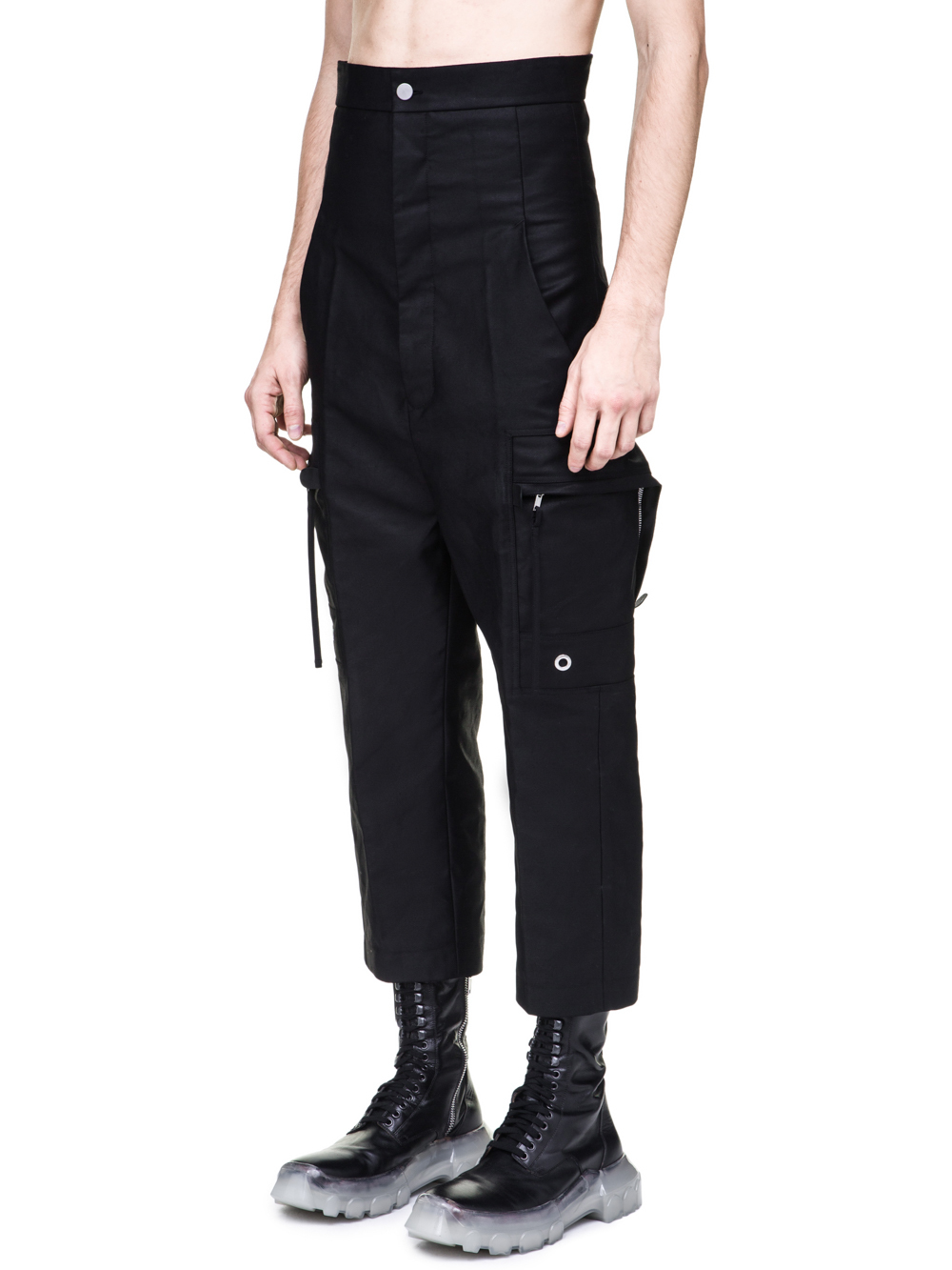 RICK OWENS OFF-THE-RUNWAY CARGO DIRT PANTS IN BLACK