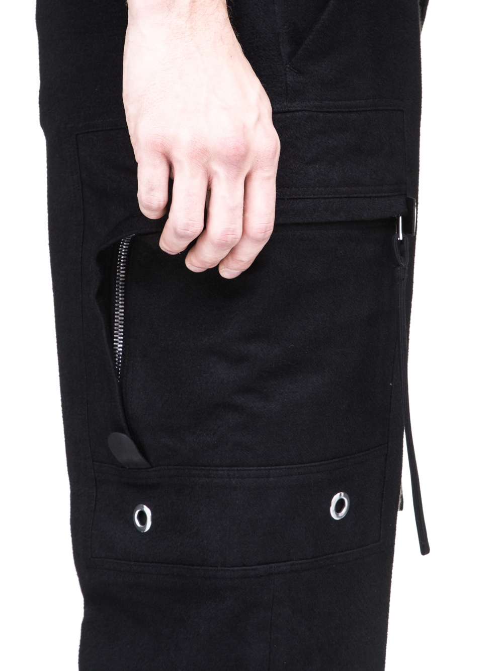 RICK OWENS OFF-THE-RUNWAY CARGO DIRT PANTS IN BLACK SILK BLEND MOLESKIN ARE EXTREMELY HIGH-WAISTED