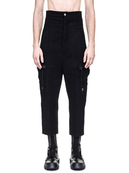 RICK OWENS OFF-THE-RUNWAY CARGO DIRT PANTS IN BLACK CAMEL WOOL