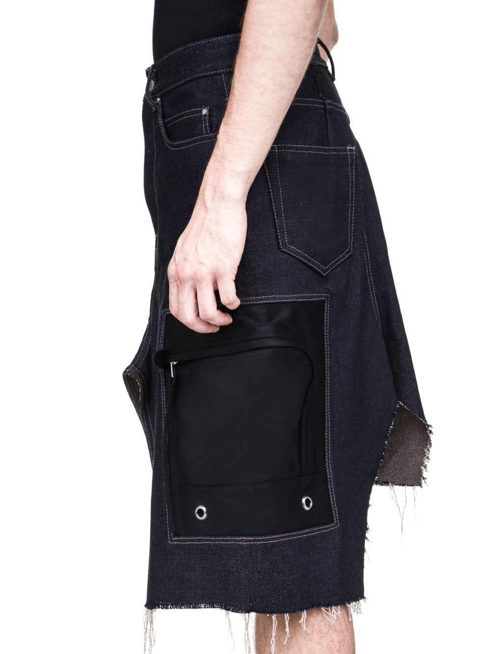 RICK OWENS OFF-THE-RUNWAY CARGO SKIRT IN 18OZ INDIGO DIRTY WEFT DENIM