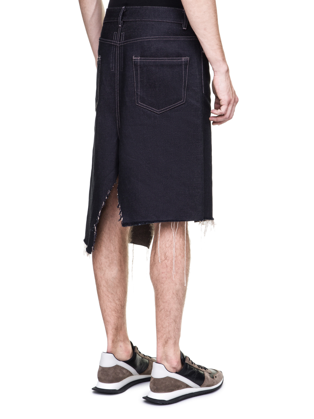 RICK OWENS OFF-THE-RUNWAY COLLAPSE SKIRT IN 18OZ INDIGO DIRTY WEFT DENIM