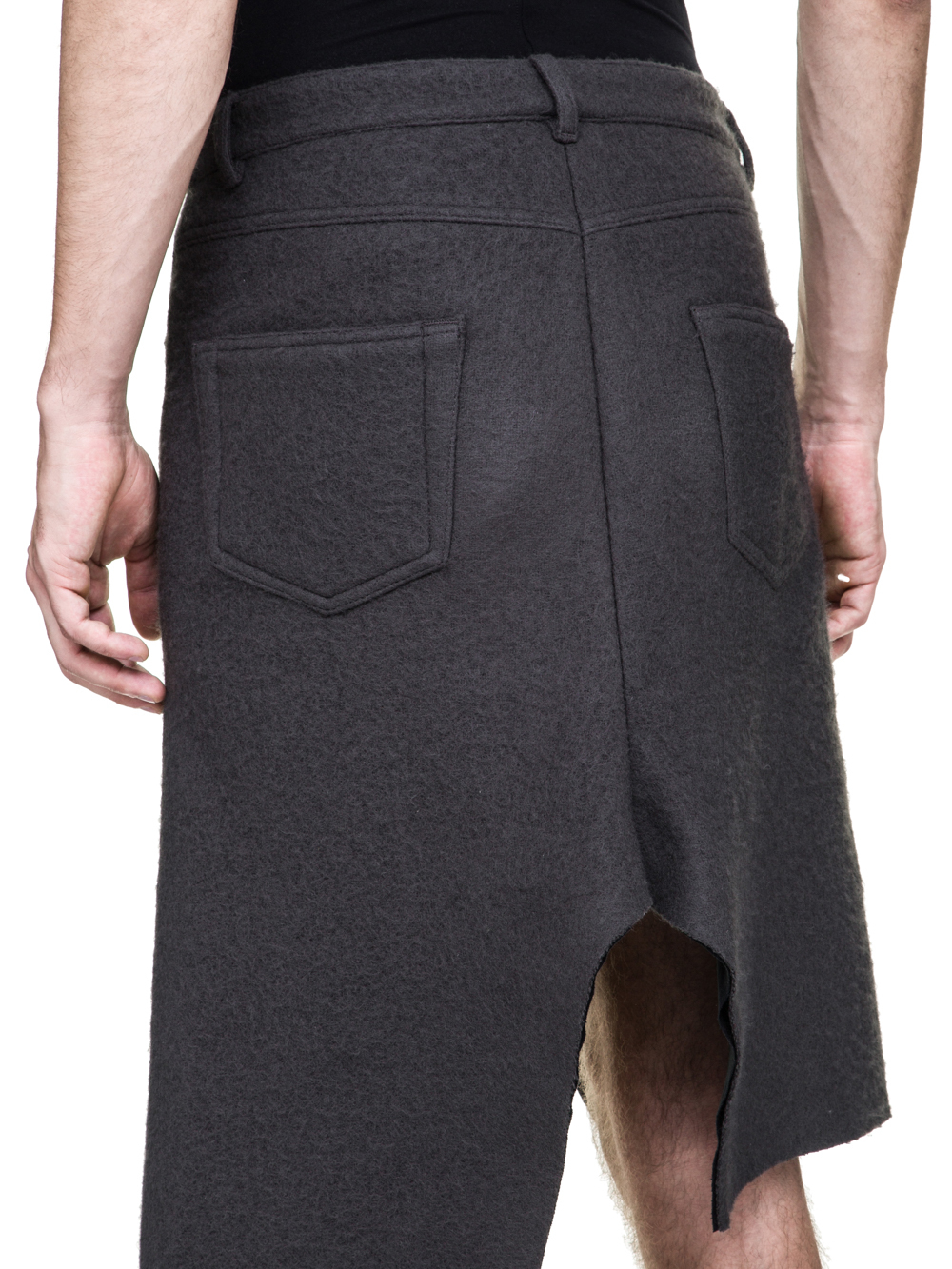 RICK OWENS OFF-THE-RUNWAY COLLAPSE SKIRT IN DARKDUST GREY BOILED WOOL