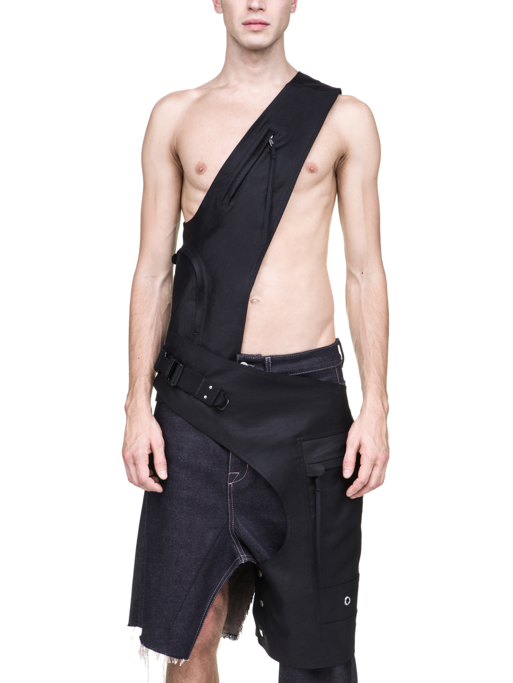 RICK OWENS OFF-THE-RUNWAY CROSS CARGO CHAP IN BLACK