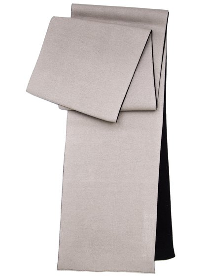 RICK OWENS OFF-THE-RUNWAY CASHBOARD SCARF IN PEARL BEIGE AND BLACK SCULPTURE KNIT