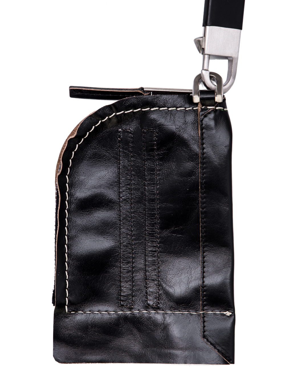 RICK OWENS OFF-THE-RUNWAY NECKWALLET IN BLACK HORSE LEATHER