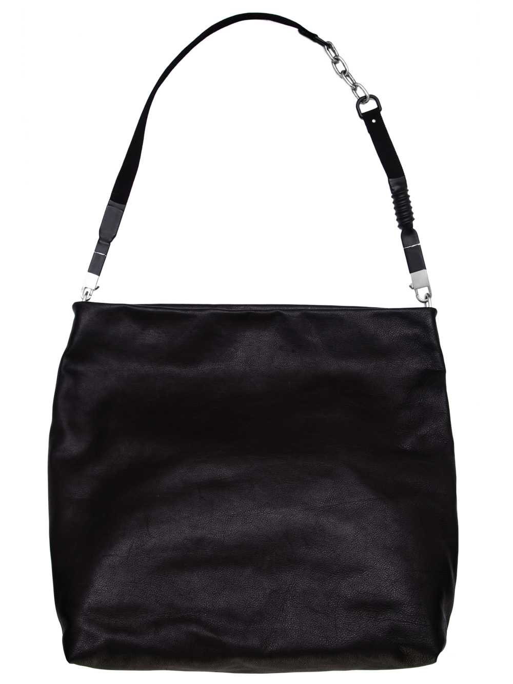 RICK OWENS OFF-THE-RUNWAY JUMBO BALOON BAG IN BLACK CALF LEATHER