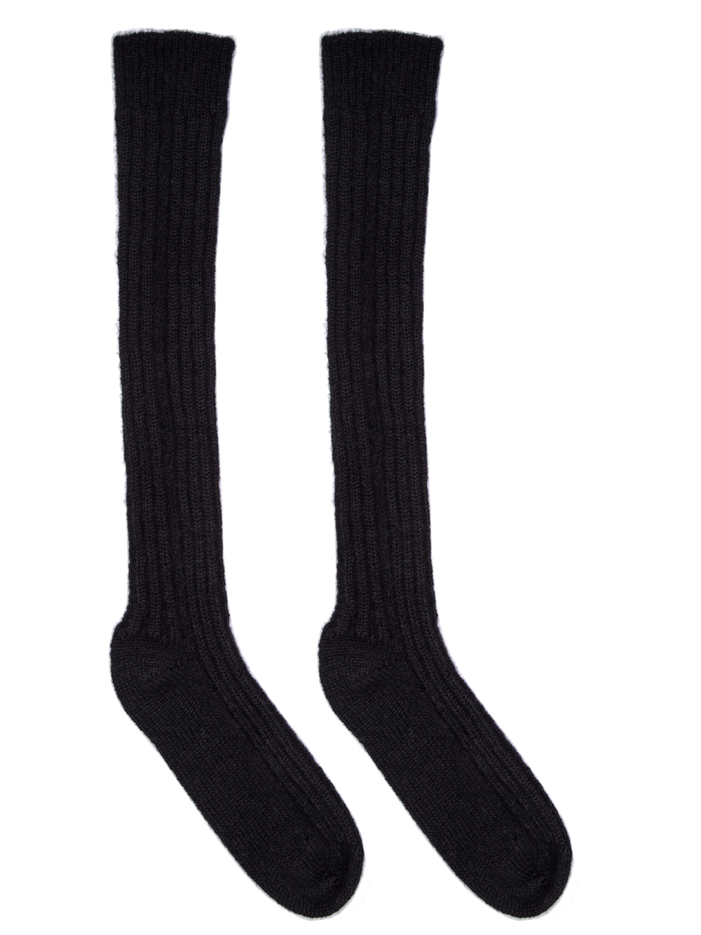RICK OWENS FW18 SISYPHUS OFF-THE-RUNWAY RIBBED SOCKS IN BLACK.
