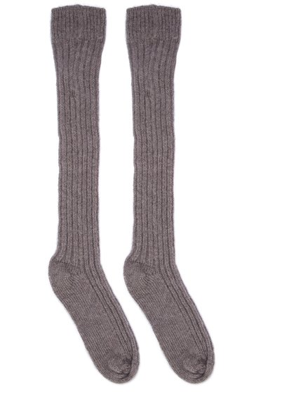 RICK OWENS FW18 SISYPHUS OFF-THE-RUNWAY RIBBED SOCKS IN DUST GREY.