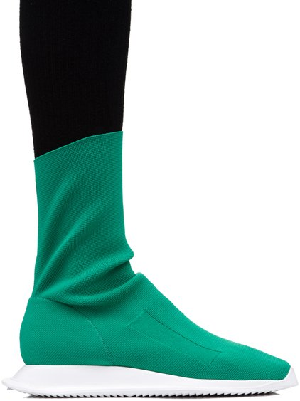DRKSHDW LOW RUNNER STRETCH SOCK SNEAKERS IN INSTITUTION GREEN
