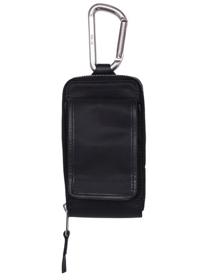 DRKSHDW CLIP-ON POCKET BAG IN BLACK FEATURES A ZIPPER CLOSURE