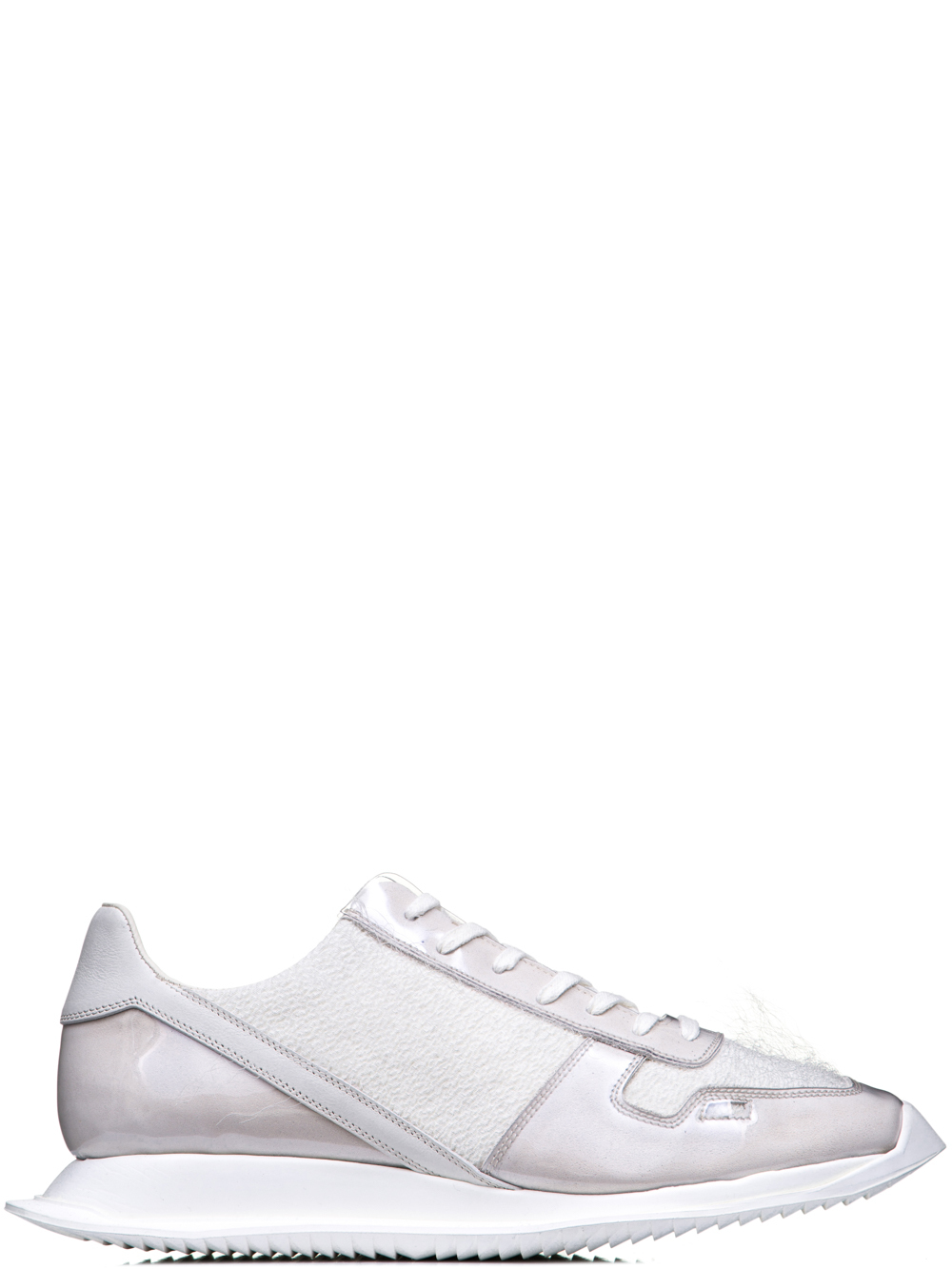 RICK OWENS OFF-THE-RUNWAY LACE UP RUNNERS IN MILK WHITE
